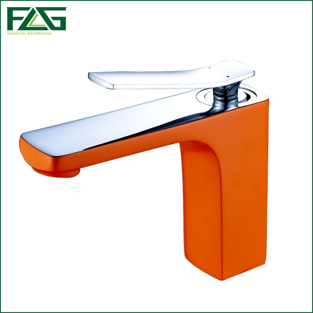 ФОТО FLG Square Basin Faucet Grilled Orange Painted Deck Mounted Cold&Hot Single Lever Table Robinet Faucet Bathroom Sink Mixer M338A