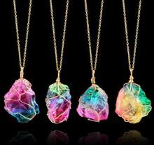 Mood Changing Stone Necklace Irregular Natural Crystal Chakra Rock Colorful Stone Quartz Pendant Necklace(China)
