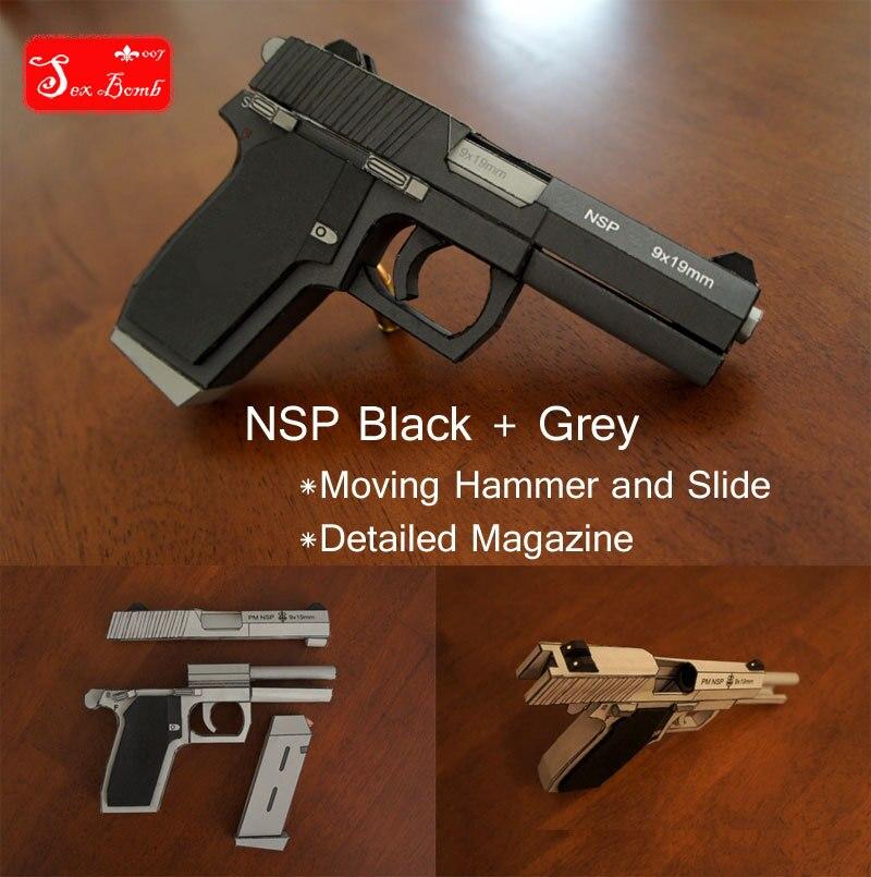 Échelle Interne Structure HK_USP Pistolet 3D Papier Modèles Enfant Adultes Gun Armes Papier Modèle Jouets Mobile Marteau Glisser 2 dans 1