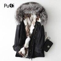 PUDI A68659-5 для женщин зимняя теплая хлопковая парка пальто с натуральным лисьим меховой воротник леди куртка