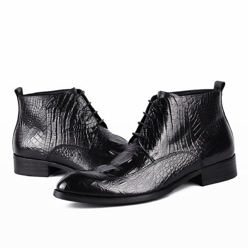 Hombre Lujo Zapatos vino Masculina Genuino De Transpirables Bota Mycoron Casuales Negro Moda Botas Encaje Tinto Cuero Formal Vestido Acogedor 5qxBp