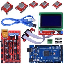 цена на Mega 2560 R3 REV3 Board + RAMPS 1.4 Controller + 12864 LCD Display + 5pcs A4988 Stepper Motor Drive  For Arduino 3D Printer Kit