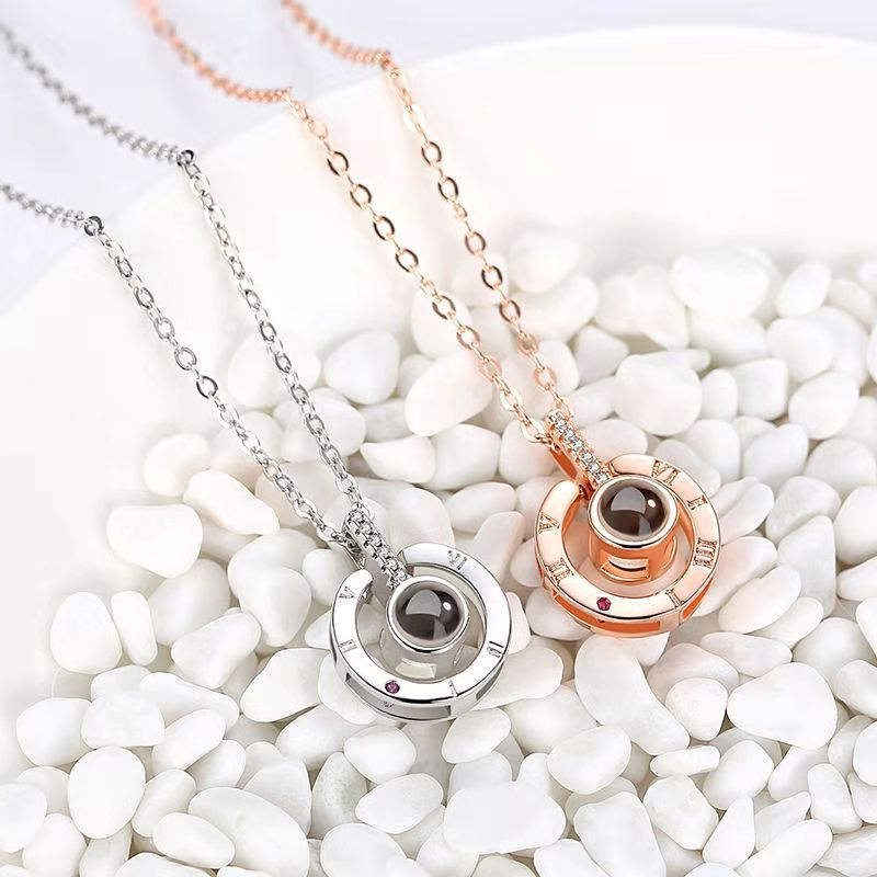 HTB1JWV8avfsK1RjSszgq6yXzpXaM - Rose Gold&Silver 100 languages I love you Projection Pendant Necklace Romantic Love Memory Wedding Necklace