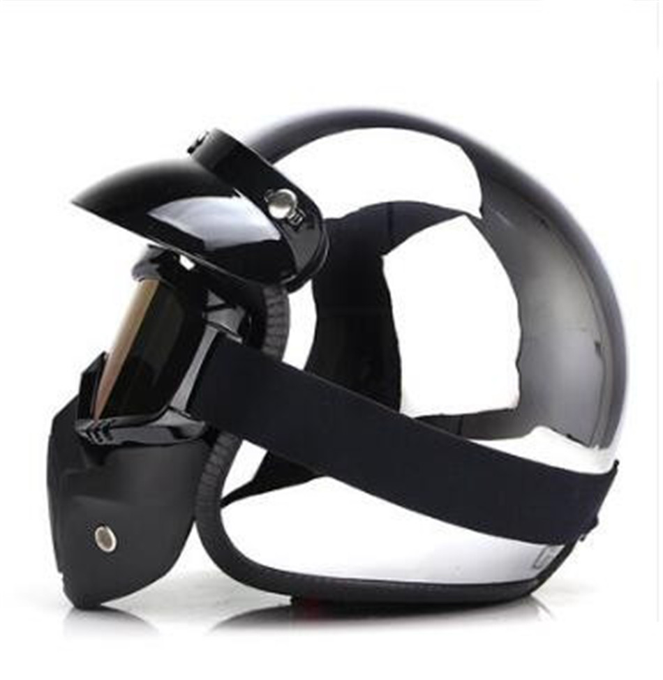 Motorcycle Helmets ATV Dirt Bike Cool Open Face 3/4 Half Helmet With Removable mask many Colors S M L XL XXL , Glossy Black