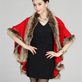 2016 Winter Fashion Black Faux Fur Tippet Wrap Elegant Multilayer Fur Overcoat Evening Party Red Outwear