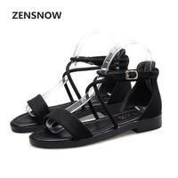 2017 New Summer Fish Mouth With Cross Straps Rome Fashion Large Size Flat Sandals