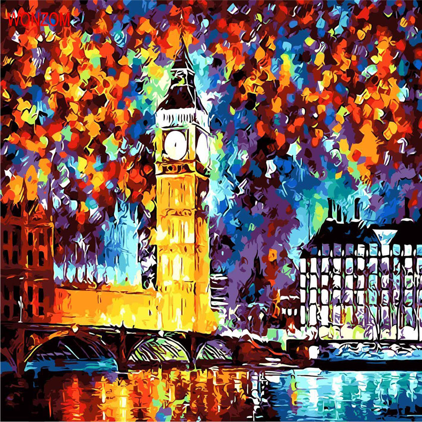 Night London Abstract Painting By Numbers On Canvas Coloring Cuadros Decoracion Drawing By Numbers Wall Picture For Living Room ...
