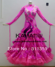 KAKA DANCE B1405, Tarian bulu burung unta warna merah jambu baru, pakaian tarian Waltz, wanita, pakaian tarian tarian