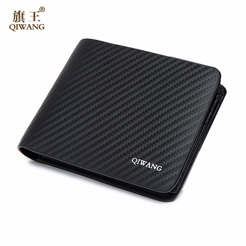 Qi Wang Wallet for Men Carbon Wallet Genuine Leather small wallet Men Leather Coin Wallet Male Man Credit Card purse Money Bags etya men s wallet genuine leather short man folding cowhide wallet male multifunctional credit id card coin purse money bag