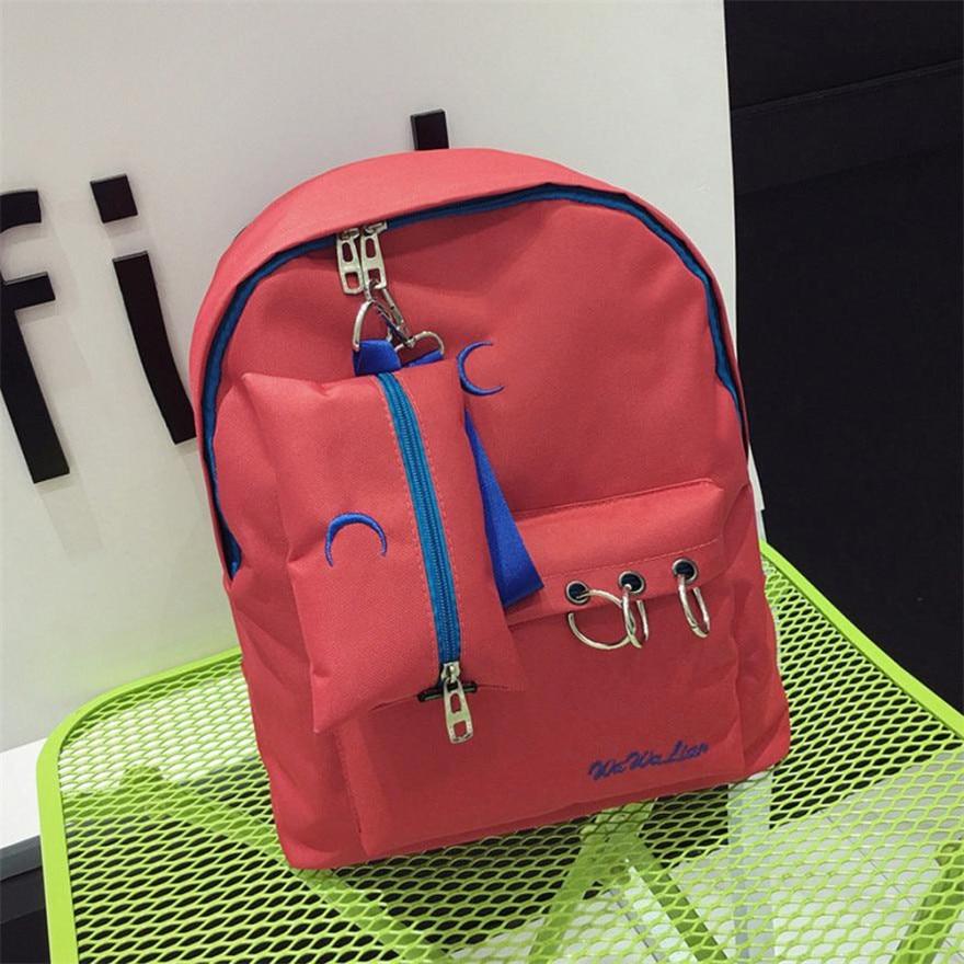 MOLAVE BackpackGirls backpackSolid backpacks female Zipper Nylon Embroidery School Shoulder bags Travel Rucksacks Apr4