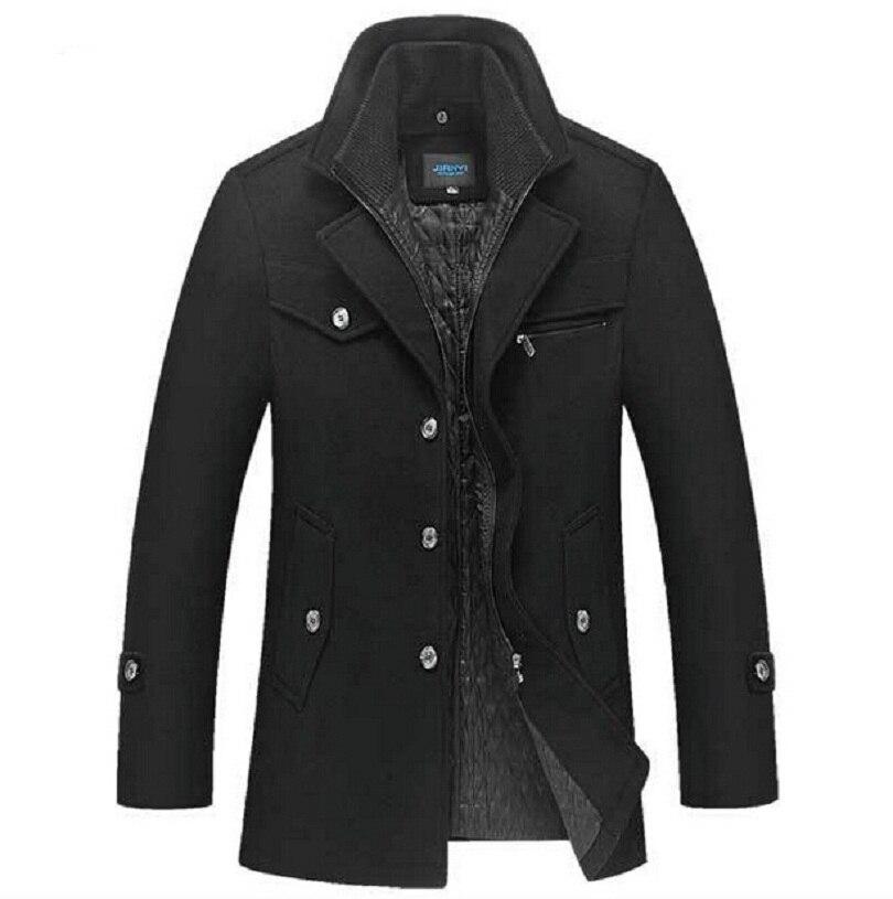 Зимнее шерстяное пальто Для мужчин Slim Fit Куртка Для мужчин S модная верхняя одежда; теплый мужской повседневные куртки пальто шерстяной бушл...