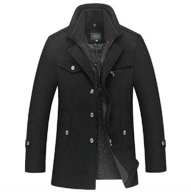 Inverno Homens Casaco de Lã Slim Fit Mens Jaqueta Moda Outerwear quente Masculino Casual Casacos Casaco de Ervilha Casaco de Lã Plus Size XXXXL