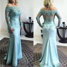 Plus Size Formale Abendkleid Mit Langen Ärmeln Applique Meerjungfrau Mutter Braut Kleider Elegante 2016 Abendkleid Vestido De Madrinha