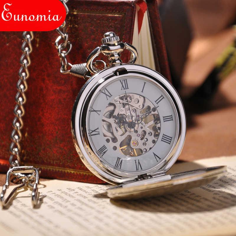 2017 Mới Thời Trang Analog Men Xem Cơ Khí Pocket Watch Với Necklace Chain Steampunk Hand Gió Pocket Watch
