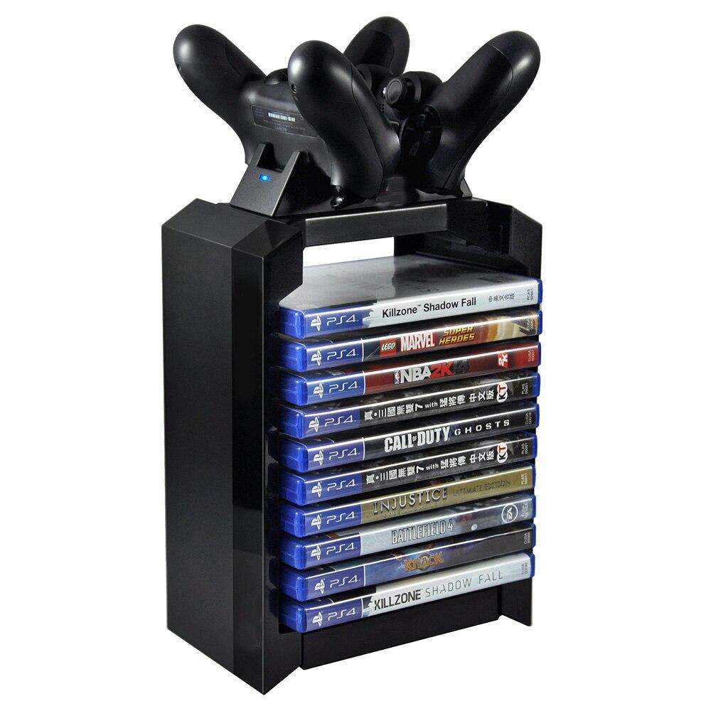 Schwarz Farbe Spiel Disk Turm Vertikale Stehen für PS4 DualShock Controller Lade Dock Station für PlayStation 4 PRO Schlank