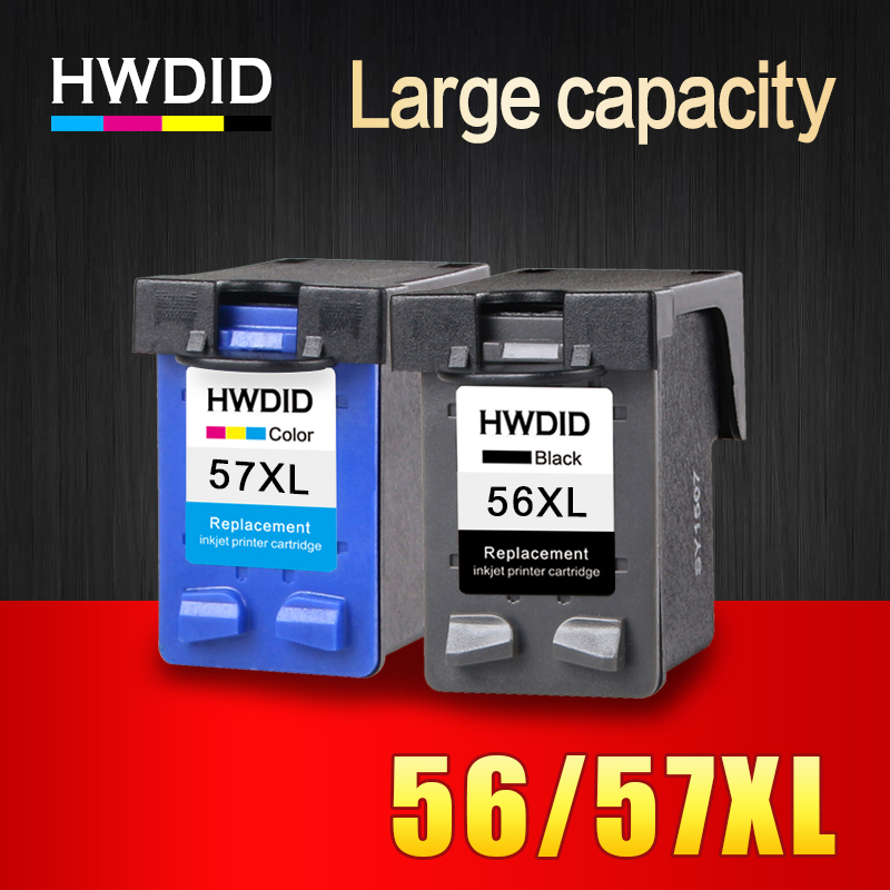 HWDID 56XL 57XL Refilled Ink cartridge Replacement for HP 56 57 for Deskjet 450CI 5550 5552 7150 7350 7000 2100 220 Printer hwdid 56xl 57xl ink cartridge compatible for hp 56 57 c6656a c6657a deskjet 450ci 5550 5552 7150 7350 7000 2100 220 printer