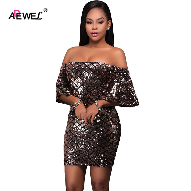 bdb1f064adad ADEWEL Sexy Women Brown Diamond Sequins Club Dress Mini Summer Off Shoulder  Flare Sleeve Cocktail Wear Dresses Short Robe Ete-in Dresses from Women s  ...