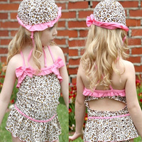 Bikini Enfant 2017 Children's Swimwear Cute Baby Girls Leopard Printed With Hat Swimwear Girls One Pieces Swimming Suit For Girl