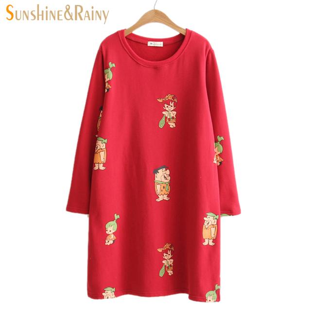 2016 mujeres del invierno del otoño camisetas de la solapa de dulces de dibujos animados con capucha Salvaje Acuden cálido algodón de manga larga tops para mujer vestido
