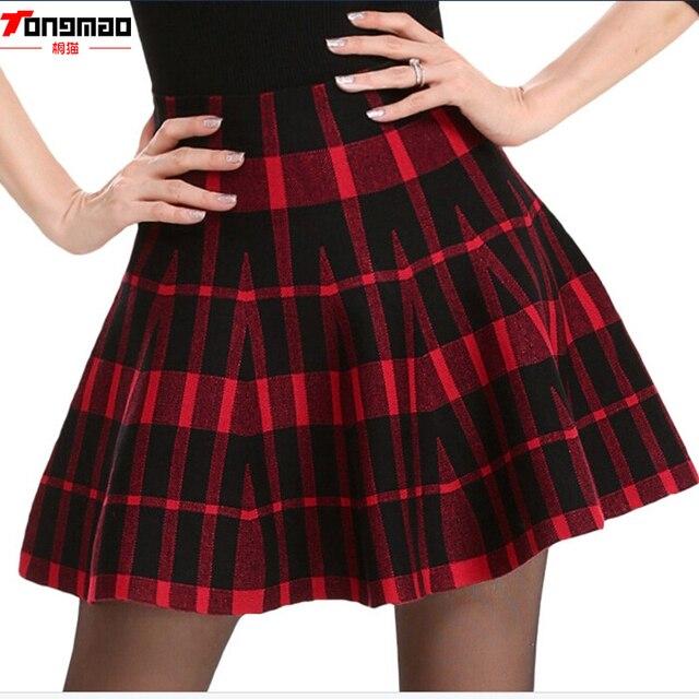 Primavera Faldas 2018 otoño nuevo diseño de moda de alta cintura corto mini  plisado lana Plaid cb3e9d45078b