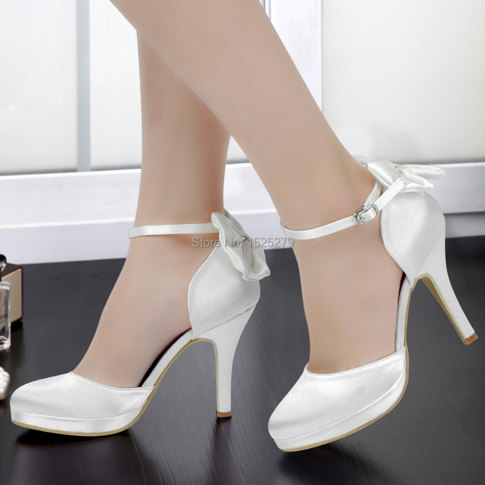 ФОТО AJ091-PF Women Shoes White Ivory Bridal Party High Heel Platform Pumps Bow Ankle Strap Buckles Satin Bride Dress Wedding Shoes
