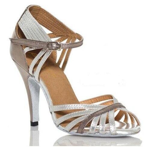 New Ladies Girl s Silver Sexy Mid High Heel 6cm 8 5cm 10cm PU Tango Samba