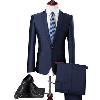 fa71bdfc47 2019 de los hombres del estilo británico de moda casual botón trajes hombre  traje de color sólido abrigos chaqueta + Pantalones pantalones conjuntos