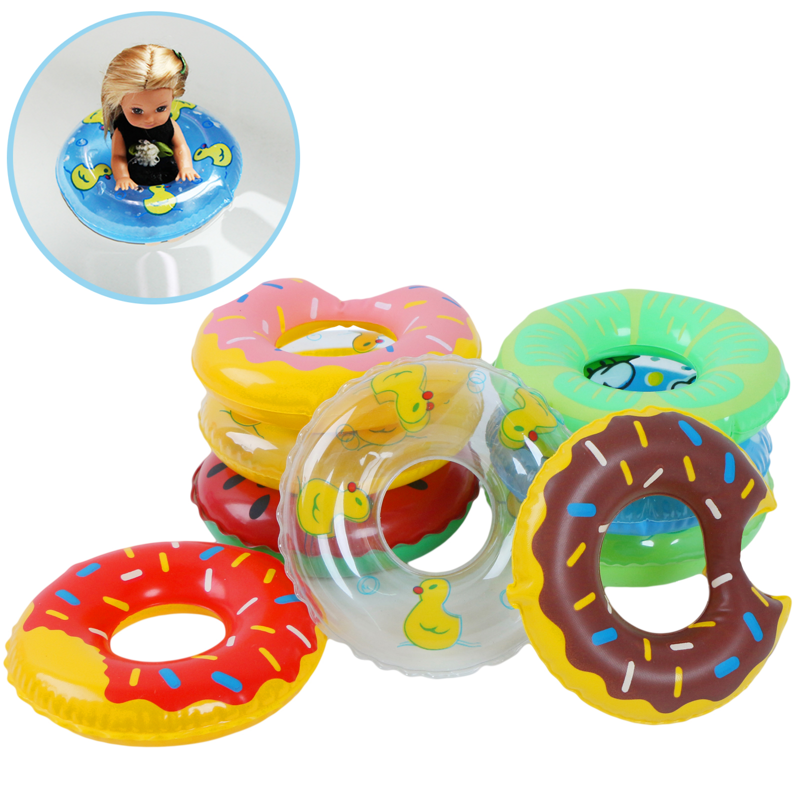 5 Pcs/Lot Fashion Doll Swimming Buoy For Barbie Doll Summer Cute Lifebelt Ring Mixed Style DIY Doll Accessories Toy