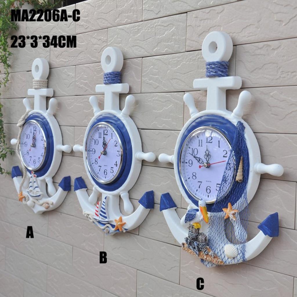 33cm Anchor Clock Beach Theme Nautical Ship Wheel Anchor Decor Wall Hanging