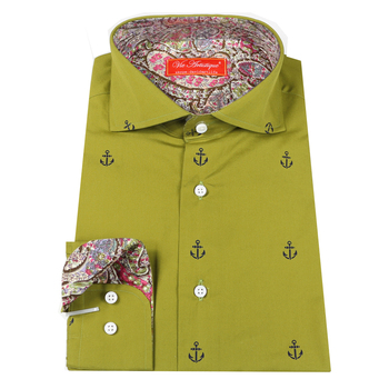 custom tailor made Men's bespoke shirts business formal wedding ware bespoke blouse cotton army green printed anchor floral