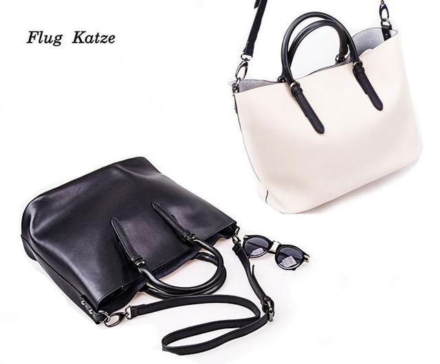 Flug katze 100% LUXURY Genuine Leather Women Shoulder Bag Brand Designer Cowhide genuine leather Shopping bag Skin Crossbody bag
