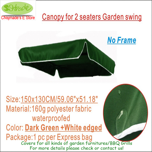 Replacement Canopy for 2 seaters garden swing150x130cm Dark green polyester fabric Canopywater  sc 1 st  AliExpress.com & Replacement Canopy for 2 seaters garden swing150x130cm Dark green ...