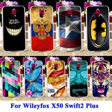 AKABEILA Soft TPU Hard PC Mobiele Telefoon Gevallen Voor Wileyfox X50 Swift2 Plus Swift 2 Shell Cover Tiger Captain Amerikaanse batman Tas(China)
