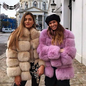 Image 2 - BFFUR Real Natural Fox Fur Coat Luxury Women Genuine Leather Fur Female Jacket Winter Thick Collar Support Customization Solid