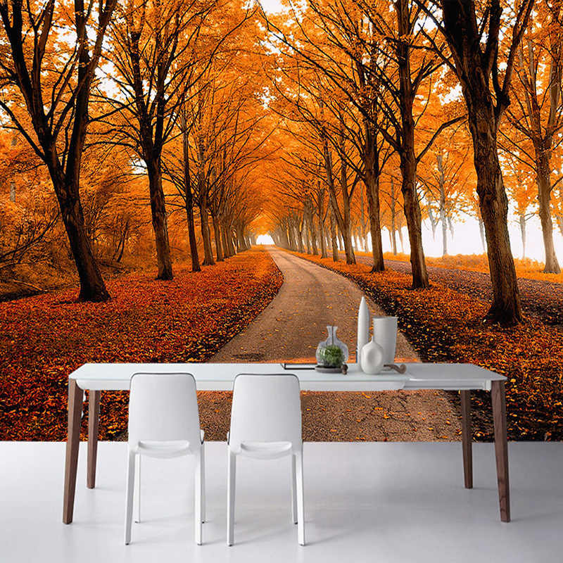 2017 Latest Nature Landscape Photo Wallpaper Autumn Maple Woods 3D Stereo Mural Spatial Expansion Restaurant Bedside Home Decor