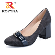 ROYYNA New Fashion Style Women Pumps Canvas Feminimo Dress Shoes High Square Heels  Lady Wedding Shoes Light Fast Free Shipping 2016 fashion italian style rhinestone pumps shoes beautiful african shoes women for wedding free shipping black colors