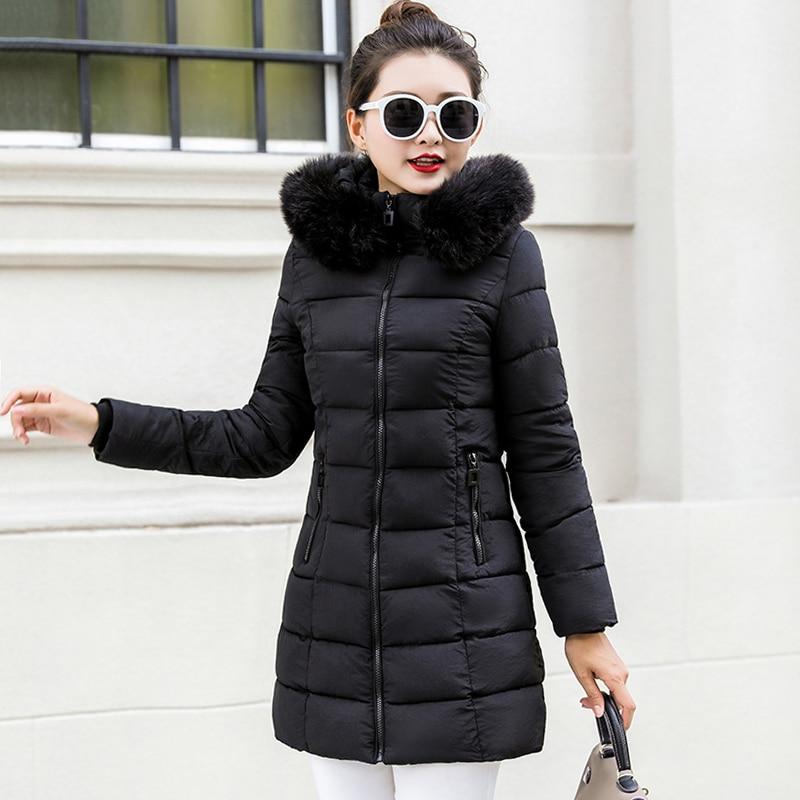 2019 Slim Hooded Female Winter Coat Fur Collar Plus Size 5XL 4XL Womens Winter Jackets Outwear Ladies Long   Parka   Chaqueta Mujer