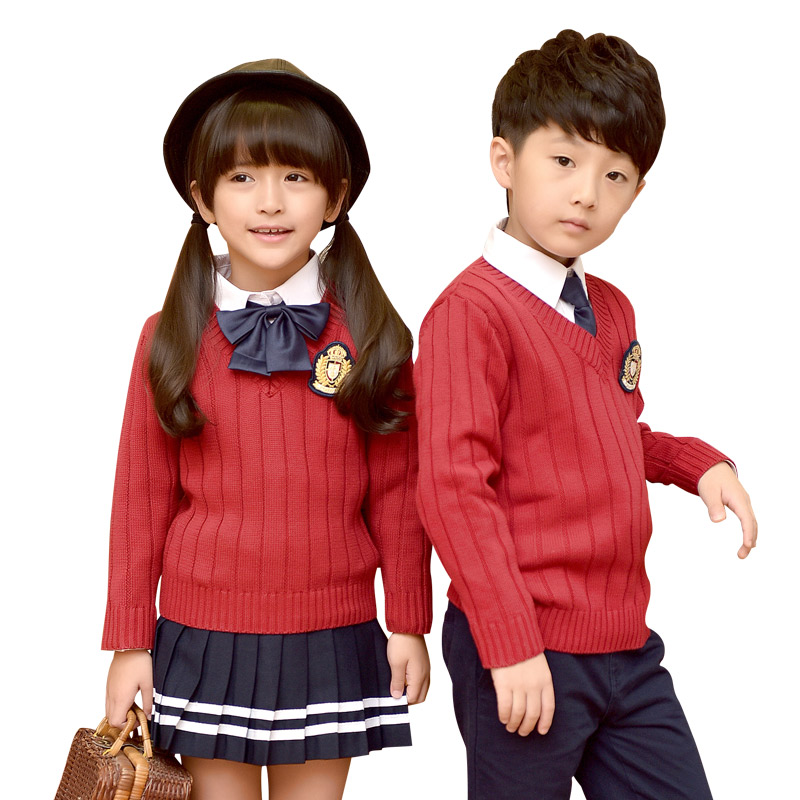 2018 Fashion Children Uniforms Boys Girls Casual Uniform Sweater Autumn Winter School Uniforms Cotton Skirt Pants Suits 3-10T цена