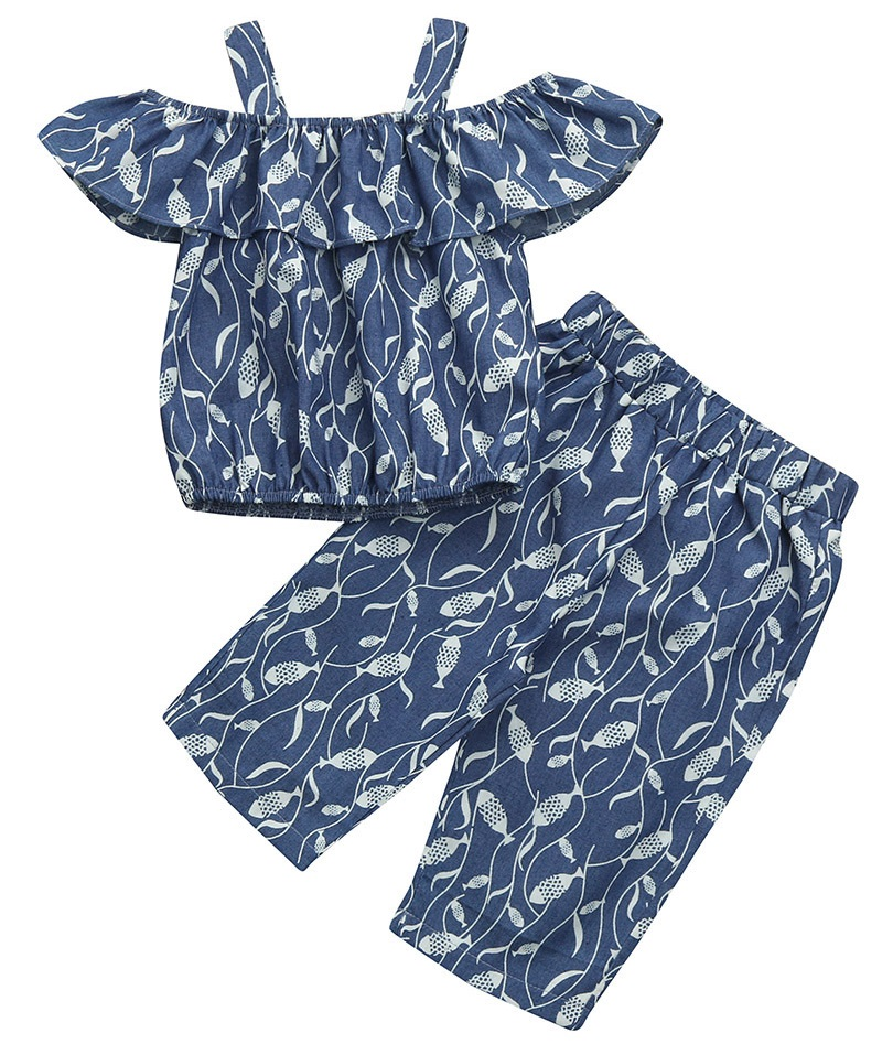 Newborn Baby Kid Girl Simple Off Shoulder Strap Ruffle Tops Shirt Pants Clothes Princess Small Fish Print 2PCS Clothes Set 2019 in Clothing Sets from Mother Kids