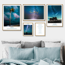 Starry Sky Meteor House Coconut Tree Wall Art Canvas Painting Nordic Posters And Prints Pictures For Living Room Decor