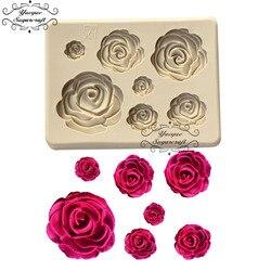 Yueyue sugarcraft rosa flor molde de silicone fondant molde ferramentas de decoração do bolo de chocolate confeitaria molde de cozimento acessórios