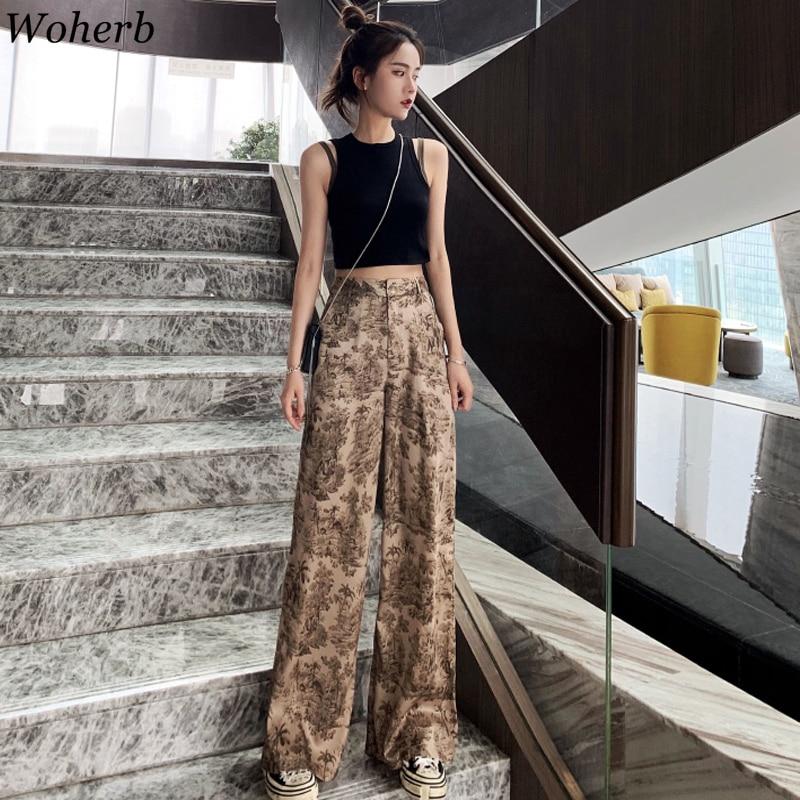 Woherb Korean Style Wide Leg Pants Women Vintage Harajuku Print High Waist Trousers 2020 Summer Female Palazzo Pants 22828