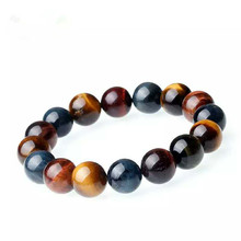 Top Quality Natural Colorful Tiger Eye Round Beads Gemstone Stone Bracelet Bangles 12mm Women Men Stretch Crystal Jewelry AAAAA 14mm precious natural blue kyanite gems stone cat eye big round crystal beads jewelry powerful stretch men bracelet