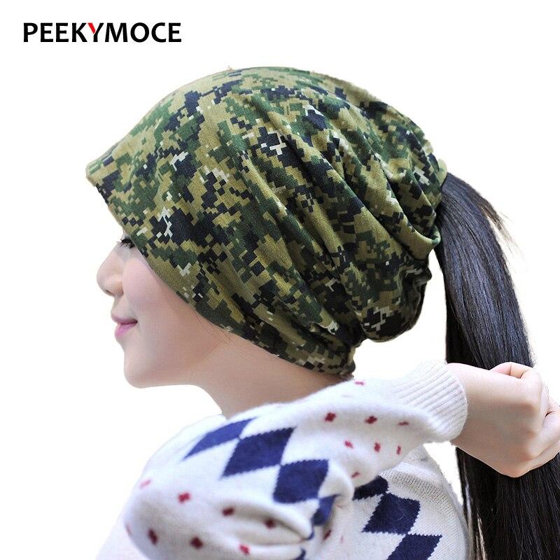 Casual Skullies Beanies Knitting Caps Bonnet Double Layer Thin Cotton Hat Autumn Winter men and women headset camouflage hat skullies