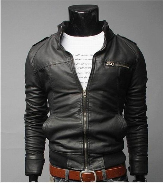 Men Clothing Slim Fit Stand Collar Motorcycle Synthetic Leather Jacket Outwear Washing Soft Handfeel jaqueta de couro masculina