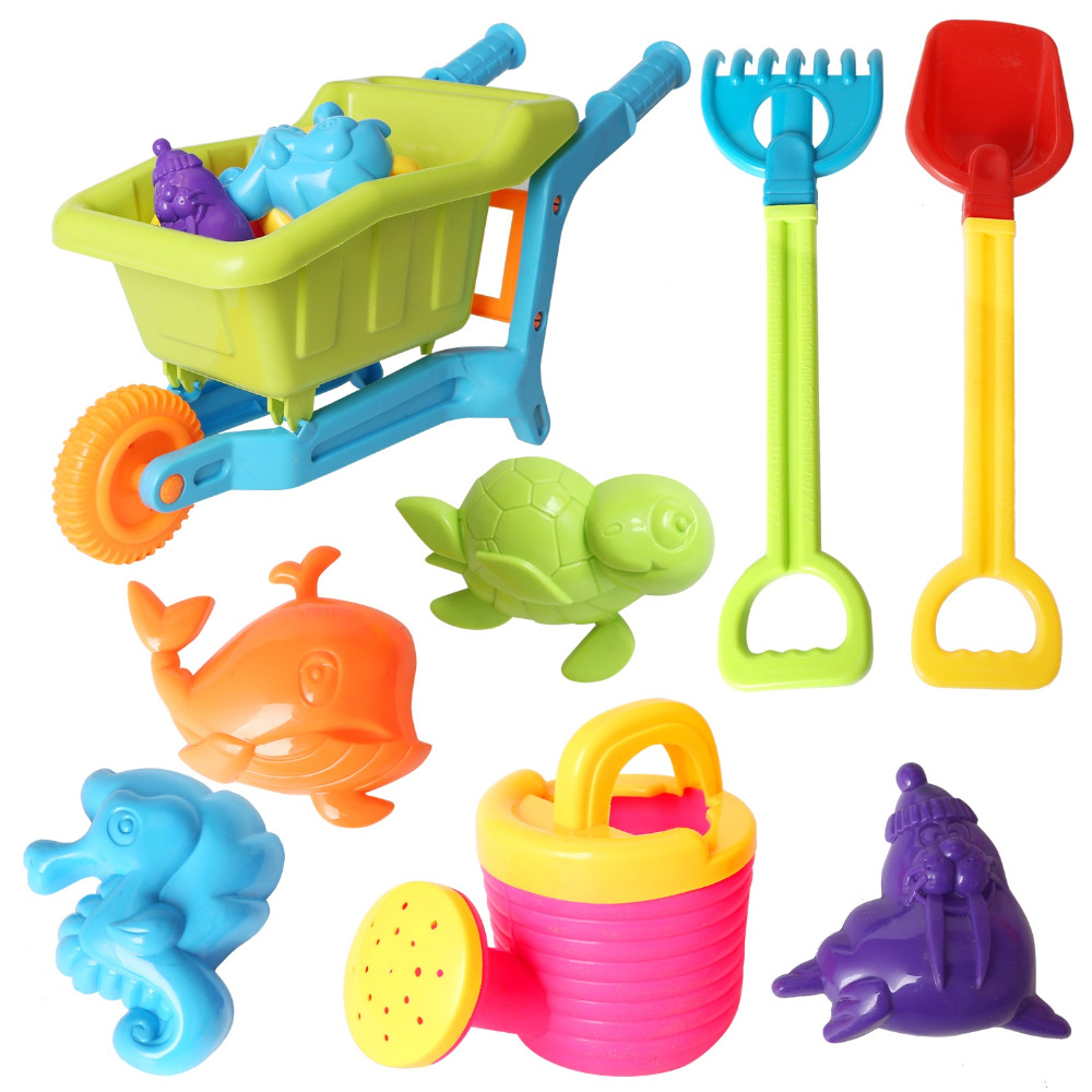 Baby Beach Toy Set Models And Molds, Shovels, Rakes Sand Bucket Toys Beach Play Sand Water Tool Toys Gift For Kid Color Random