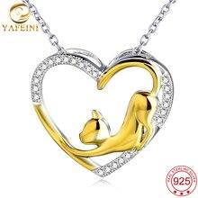 YAFEINI Auténtica plata de Ley 925 Joyas de Plata de Oro Gato Collar Moda Mujeres Joyería CZ Corazón Colgante GNX0459