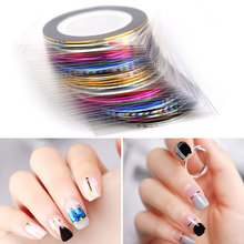 HNUIX All for nail 30 pieces stripe strip line Nail Art decoration sticker DIY stickers nails mix color rolls