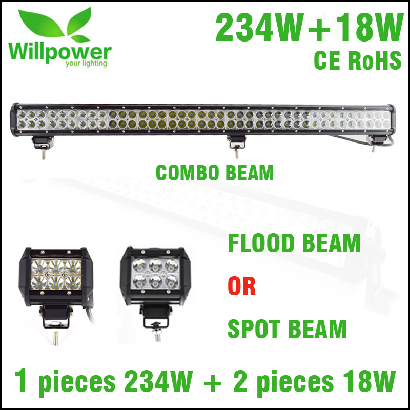 willpower 234W double rows straight led light bar with 2 pieces 18w flood beam spot beam led work light 18w 1440lm 6500k 25 degree spot beam 6 led work light bar 10 30v