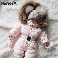 Menoea Baby Rompers 2019 New Winter Baby Warm Clothing Fashion Solid Baby Hooded Clothes Jumpsuit Cotton Kids Clothes For 0 24M